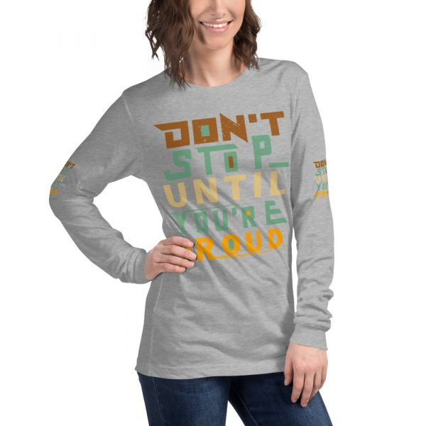 athletic grey Don't stop long sleeve women's shirts